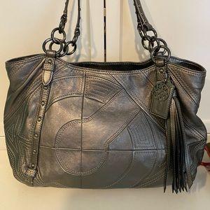 Grey Coach Leather Shoulder Bag